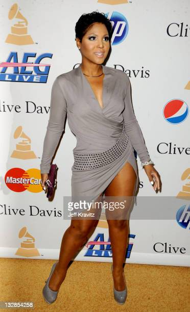 Singer Toni Braxton arrives at the 2011 PreGRAMMY Gala and Salute To Industry Icons Honoring David Geffen at Beverly Hilton on February 12 2011 in...