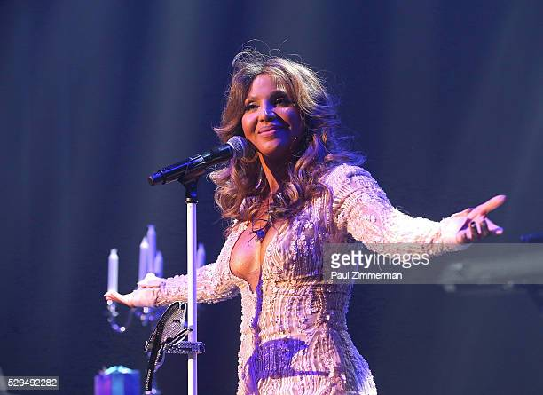 Singer Toni Braxton performs onstage at the GRAMMY Park Artist Spotlight Toni Braxton With Andra Day on May 08 2016 in Brooklyn New York