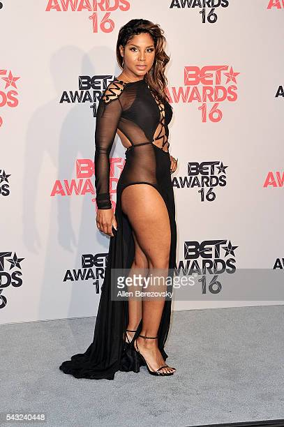 Singer Toni Braxton poses for pictures in the press room during the 2016 BET Awards at Microsoft Theater on June 26 2016 in Los Angeles California