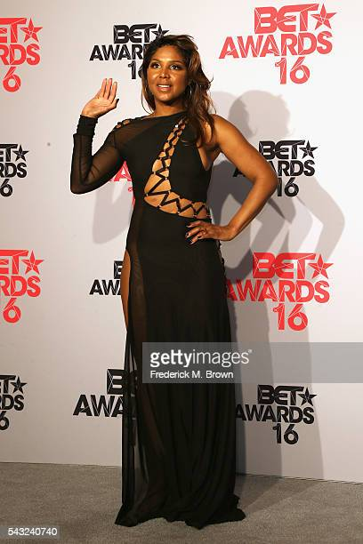 Singer Toni Braxton poses in the press room during the 2016 BET Awards at the Microsoft Theater on June 26 2016 in Los Angeles California