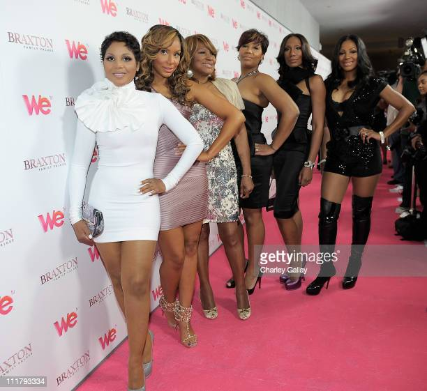Singer Toni Braxton, Tamar Braxton, Evelyn Braxton, Traci Braxton, Towanda Braxton and Trina Braxton arrive at the celebration for the new WE tv...