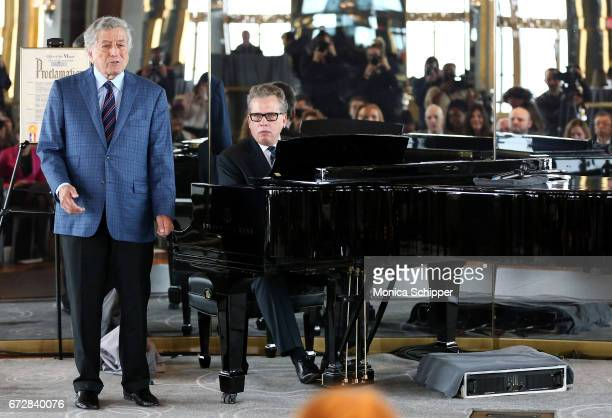 Singer Tony Bennett accompanied by Billy Stritch on the piano performs at Ella Fitzgerald's 100th Birthday Celebration Ella Fitzgerald Day...