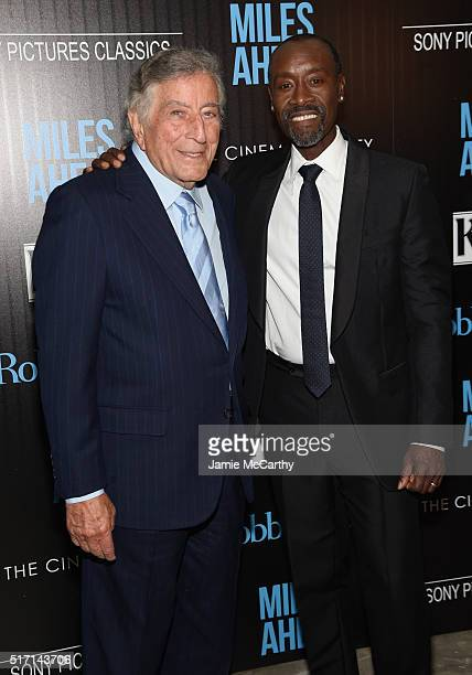 Singer Tony Bennett and actor Don Cheadle arrive at the screening of Sony Pictures Classics' Miles Ahead hosted by The Cinema Society with Ketel One...