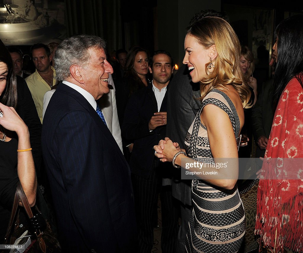 Singer Tony Bennett and actress Hilary Swank attend the Cinema Society & Laura Mercier host the after party for 'Conviction' at Soho Grand Hotel on October 12, 2010 in New York City.