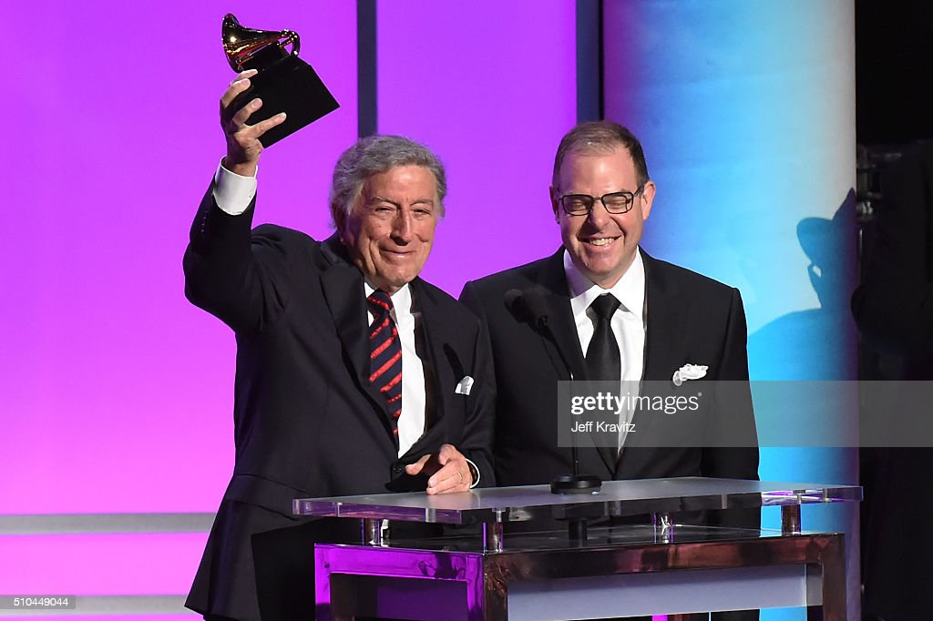 Singer Tony Bennett (L) and pianist Bill Charlap accept the award for Best Traditional Pop Vocal Album for 'The Silver Lining: The Songs Of Jerome Kern' onstage during The 58th GRAMMY Premiere Ceremony at Los Angeles Convention Center on February 15, 2016 in Los Angeles, California.
