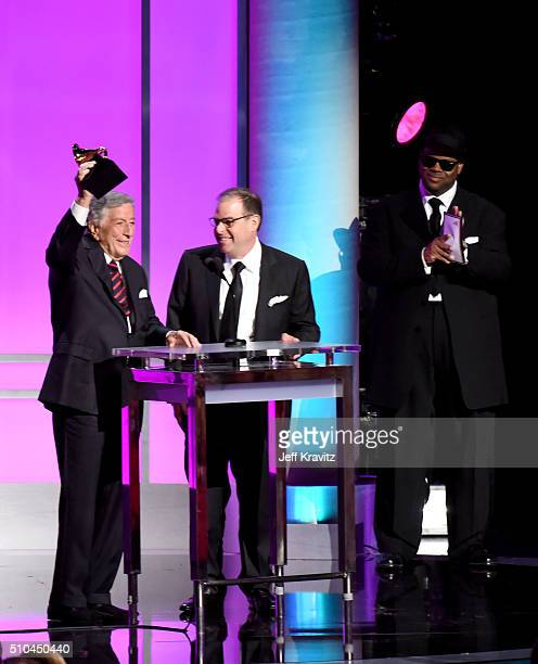 Singer Tony Bennett and pianist Bill Charlap accept the award for Best Traditional Pop Vocal Album for 'The Silver Lining The Songs Of Jerome Kern'...