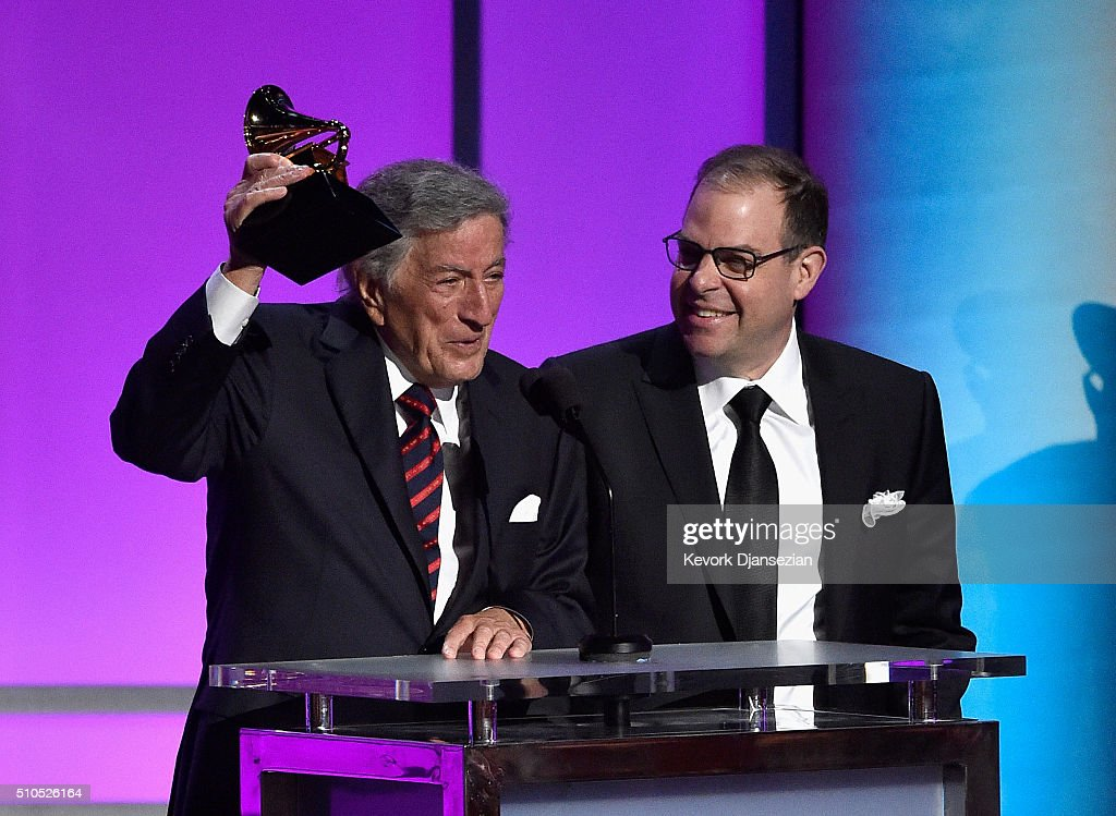 Singer Tony Bennett (L) and pianist Bill Charlap accept the Grammy Award for Best Traditional Pop Vocal Album, for 'The Silver Lining: The Songs Of Jerome Kern,' onstage during the GRAMMY Pre-Telecast at The 58th GRAMMY Awards at Microsoft Theater on February 15, 2016 in Los Angeles, California.