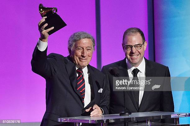 Singer Tony Bennett and pianist Bill Charlap accept the Grammy Award for Best Traditional Pop Vocal Album for The Silver Lining The Songs Of Jerome...