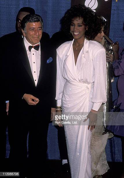 Singer Tony Bennett and singer Whitney Houston attend the United Negro College Fund's 46th Annual Awards Dinner/Frederick D. Patterson Award to...