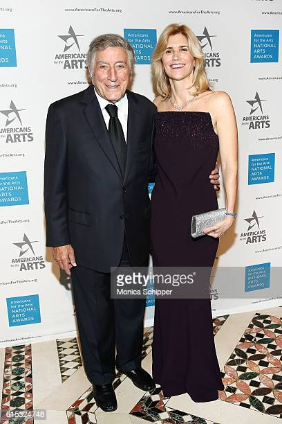 Singer Tony Bennett and Susan Crow attend the 2016 National Arts Awards at Cipriani 42nd Street on October 17 2016 in New York City