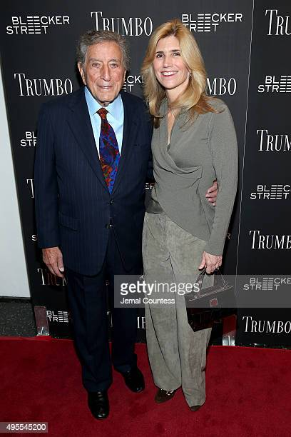 Singer Tony Bennett and Susan Crow attend the Trumbo New York premiere at MoMA Titus Two on November 3 2015 in New York City