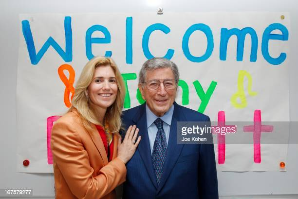 Singer Tony Bennett and wife Susan Benedetto visit Esteban E Torres High School in support of the Los Angeles expansion of Exploring the Arts on...