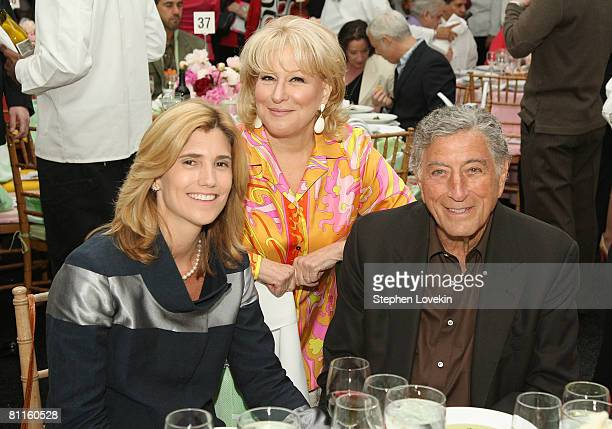 Singer Tony Bennett his wife Susan Crow and singer/actress Bette Midler attend the seventh annual Restoration Project Flower Power Spring Gala in...