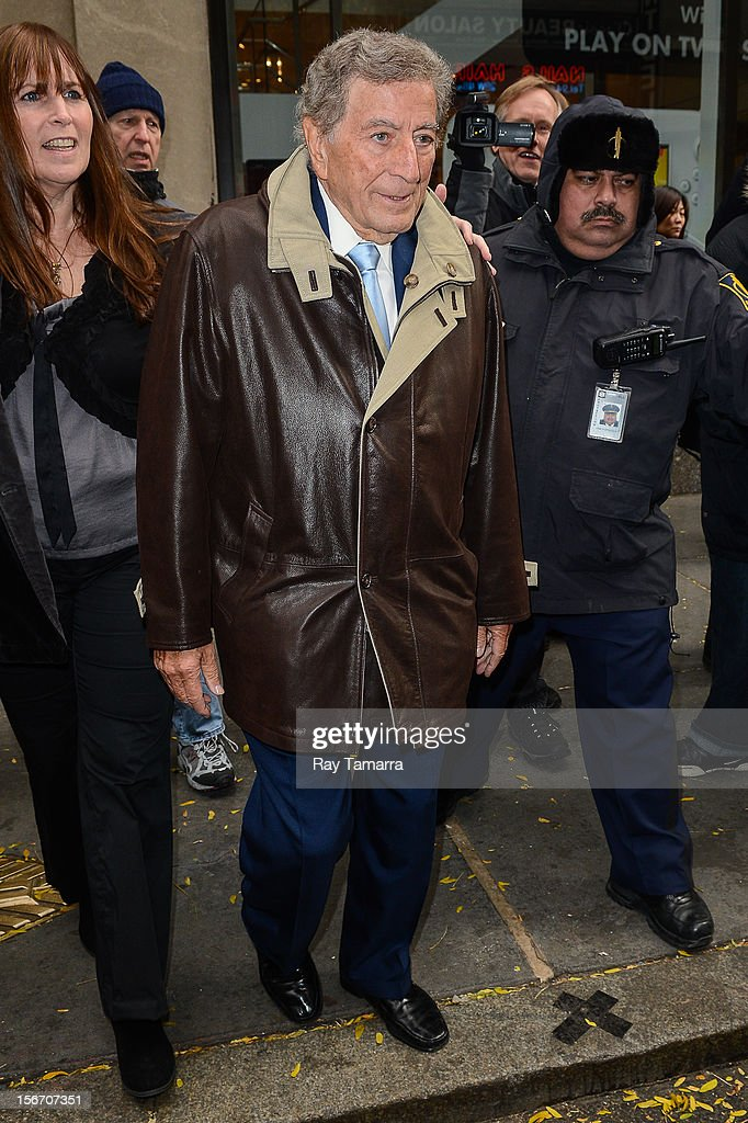 Singer Tony Bennett leaves the 'Today Show' taping at the NBC Rockefeller Center Studios on November 19, 2012 in New York City.
