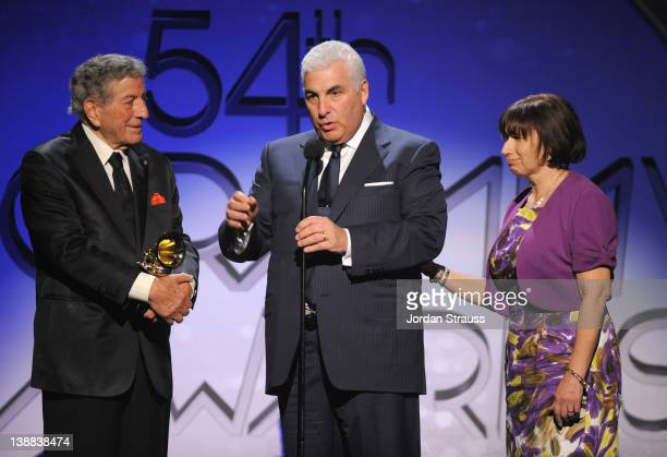 Singer Tony Bennett Mitch Winehouse and Janis Winehouse onstage at The 54th Annual GRAMMY Awards PreTelecast at Los Angeles Convention Center on...