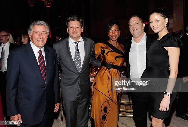 Singer Tony Bennett Netflix Chief Content Officer Ted Sarandos Nicole Avant Harvey Weinstein and Georgina Chapman attend the Exploring the Arts Gala...