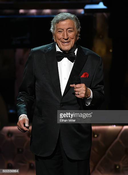Singer Tony Bennett performs during Sinatra 100 An AllStar GRAMMY Concert celebrating the late Frank Sinatra's 100th birthday at the Encore Theater...