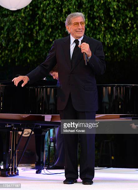 Singer Tony Bennett performs during the 87th birthday celebration of Tony Bennett and fundraiser for Exploring the Arts the charity organization...