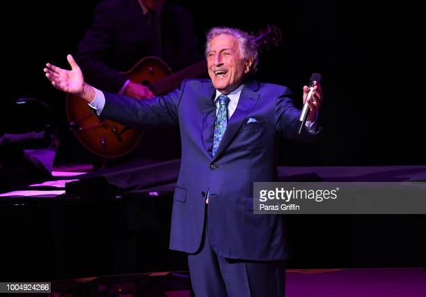Singer Tony Bennett performs in concert at Atlanta Symphony Hall on July 24 2018 in Atlanta Georgia