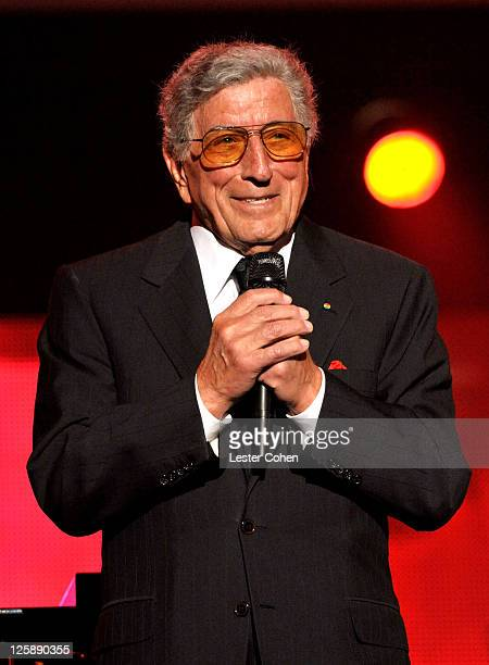 Singer Tony Bennett performs onstage at 2011 MusiCares Person of the Year Tribute to Barbra Streisand at Los Angeles Convention Center on February...