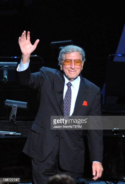 Singer Tony Bennett performs onstage at the 2012 MusiCares Person of the Year Tribute to Paul McCartney held at the Los Angeles Convention Center on...
