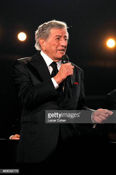 Singer Tony Bennett performs onstage during The 57th Annual GRAMMY Awards at the STAPLES Center on February 8 2015 in Los Angeles California