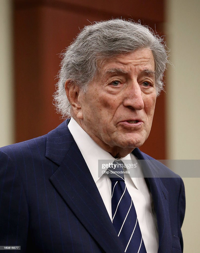 Singer Tony Bennett speaks during a news conference hosted by the Mayors Against Illegal Guns and the Law Center to Prevent Gun Violence at the U.S. Capitol February 6, 2013 in Washington, DC. The artists, activists and politicians called for manditory background check on all gun purchases among other restrictions.