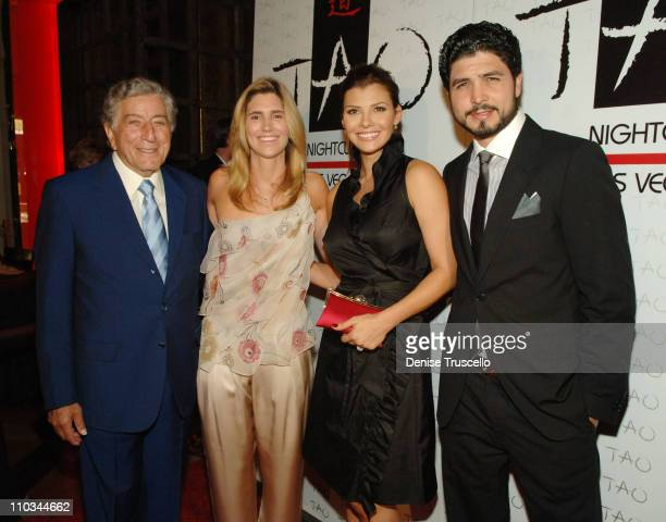 Singer Tony Bennett Susan Crow actress Ali Landry and director Alejandro Monteverde arrive at a benefit for underprivileged youth sponsored by...