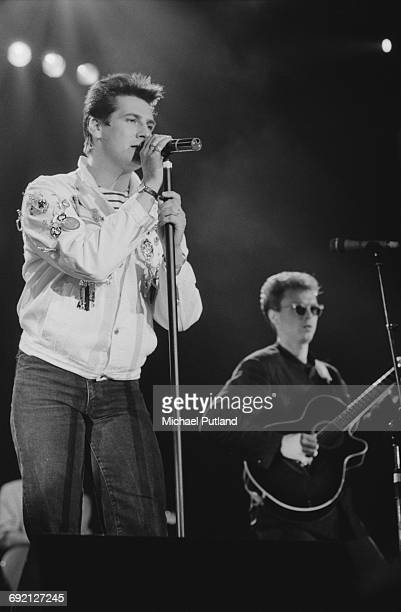 Singer Tony Hadley and guitarist Gary Kemp performing with Spandau Ballet at the Prince's Trust Concert, Wembley Arena, London, 6th June 1987.