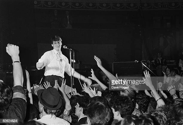 Singer Tony Hadley of English new-romantic pop group Spandau Ballet on stage, May 1983.