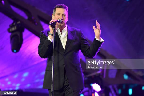 Singer Tony Hadley of the band Spandau Ballet performs the ZDF TV Show 'Willkommen 2019' - New Years Eve Party at Brandenburg Gate on December 31,...