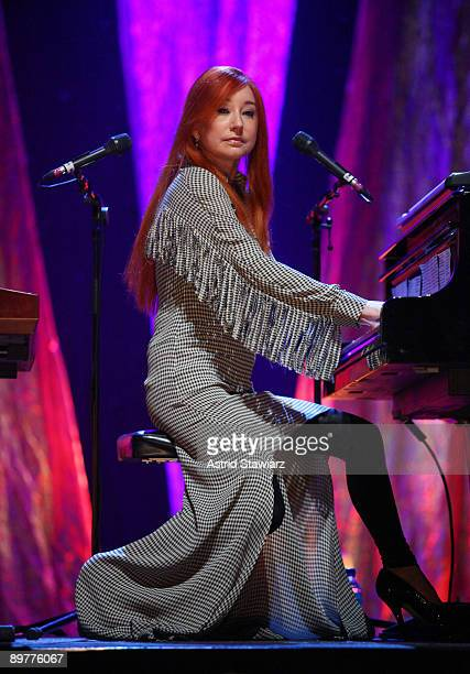 Singer Tori Amos performs during soundcheck at Radio City Music Hall on August 13 2009 in New York City