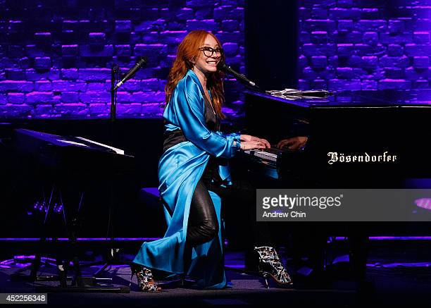 Singer Tori Amos performs on stage during the 'Unrepentant Geraldines Tour' at Orpheum Theatre on July 16 2014 in Vancouver Canada