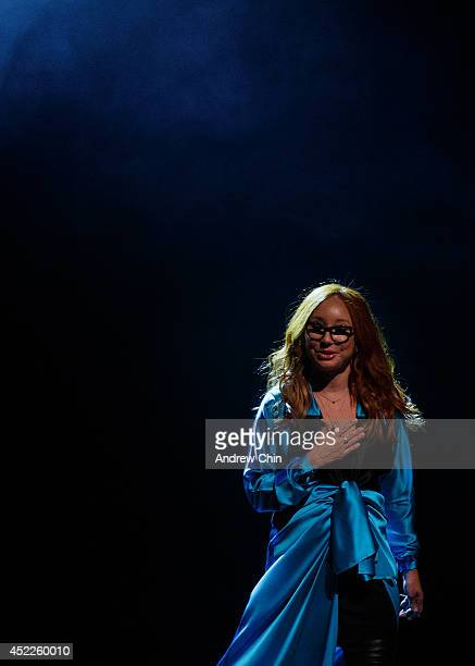 Singer Tori Amos performs on stage during the 'Unrepentant Geraldines Tour' at Orpheum Theatre on July 16, 2014 in Vancouver, Canada.