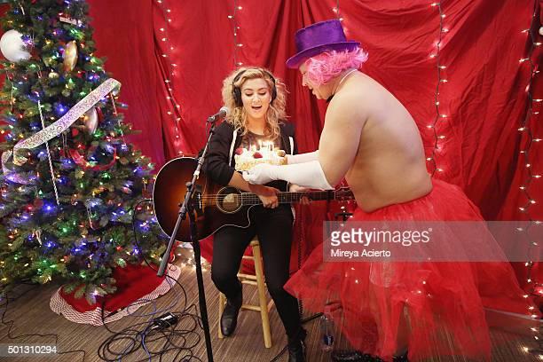 Singer Tori Kelly and Greg T visit 'The Elvis Duran Z100 Morning Show' at Z100 Studio on December 14 2015 in New York City