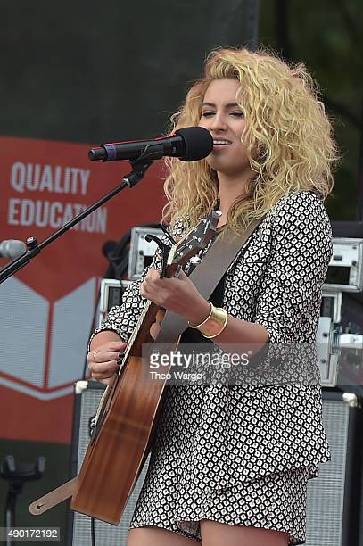Singer Tori Kelly performs on stage at the 2015 Global Citizen Festival to end extreme poverty by 2030 in Central Park on September 26 2015 in New...