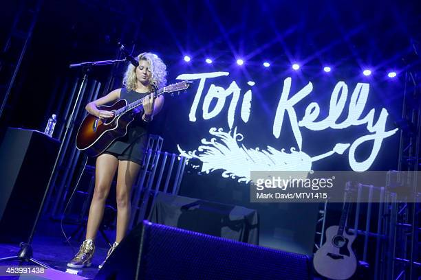 Singer Tori Kelly performs onstage during a 2014 'MTV Video Music Awards' concert with Sam Smith And Iggy Azalea presented by Time Warner Cable and...