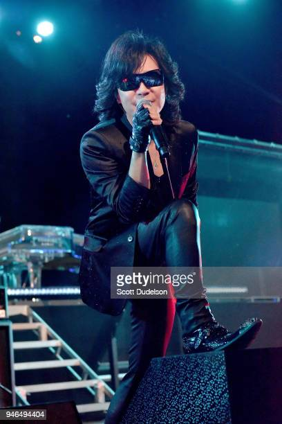 Singer Toshi co founder of the band X Japan performs on the Sahara stage during week 1 day 2 of the Coachella Valley Music and Arts Festival on April...