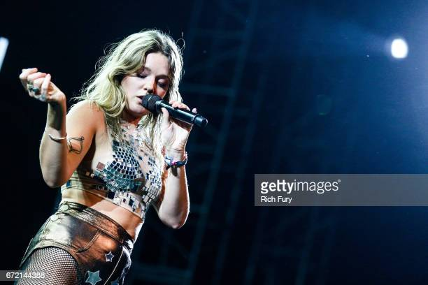 Singer Tove Lo performs at the Mojave Tent during day 3 of the 2017 Coachella Valley Music Arts Festival at the Empire Polo Club on April 23 2017 in...