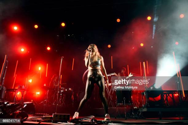 Singer Tove Lo performs on the Mojave stage during day 3 of the Coachella Valley Music And Arts Festival at the Empire Polo Club on April 16 2017 in...
