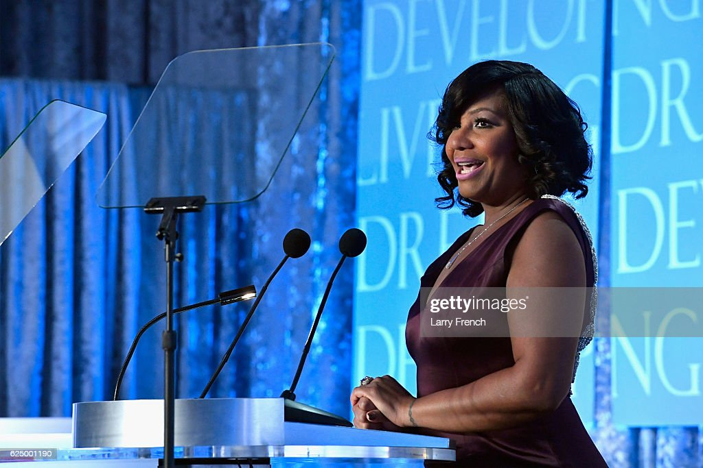 Singer Traci Braxton speaks onstage during the Thurgood Marshall College Fund 28th Annual Awards Gala at Washington Hilton on November 21, 2016 in Washington, DC.