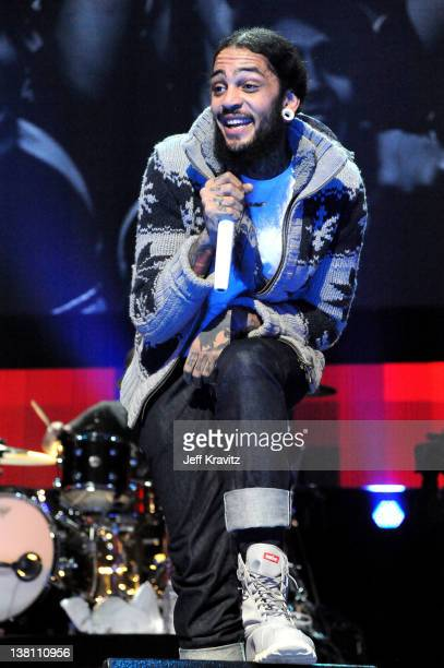 Singer Travie McCoy of Gym Class Heroes performs onstage during VH1's Super Bowl Fan Jam at Indiana State Fairgrounds Pepsi Coliseum on February 2...