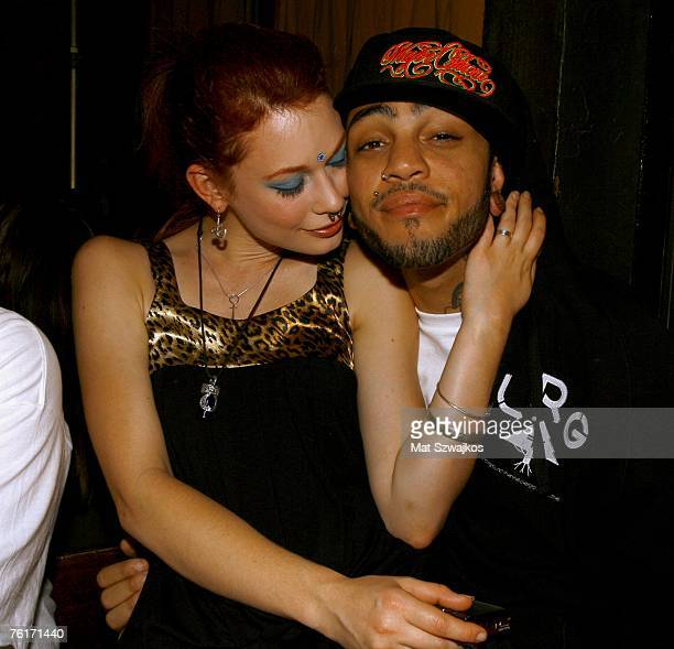 Singer Travis McCoy and Penthouse Pet Justine Joli attend McCoy's birthday party at Angels and Kings on August 18 2007 in New York City