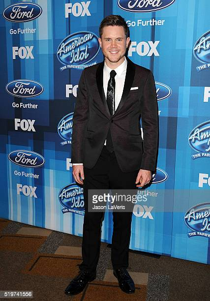Singer Trent Harmon poses in the press room at FOX's 'American Idol' finale for the farewell season at Dolby Theatre on April 7 2016 in Hollywood...