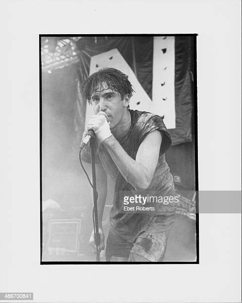 Singer Trent Reznor on stage with band Nine Inch Nails 1991