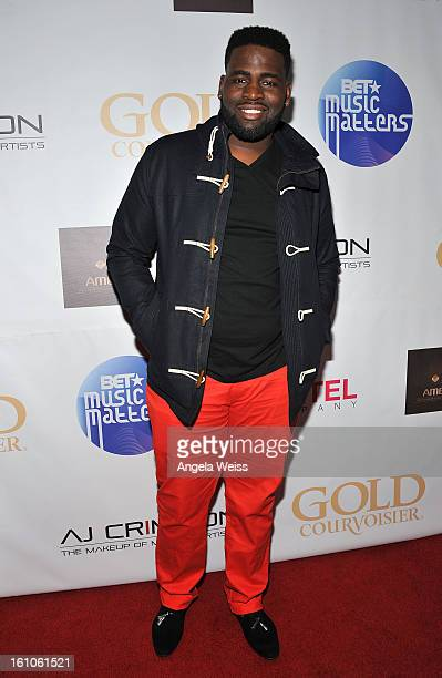 """Singer Trevon Hunt arrives at BET Network's Music Matters Showcase """"Lipstick On The Mic"""" at Belasco Theatre on February 8, 2013 in Los Angeles,..."""