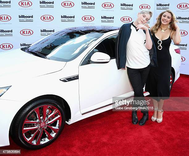 Singer Trevor Moran and actress Lia Marie Johnson attend the 2015 Billboard Music Awards with Kia Motors at MGM Grand Garden Arena on May 17 2015 in...