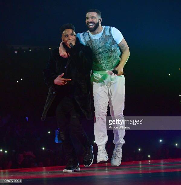 Singer Trey Songz and Drake perform onstage during the Final Stop of 'Aubrey The three Amigos Tour' at State Farm Arena on November 18 2018 in...