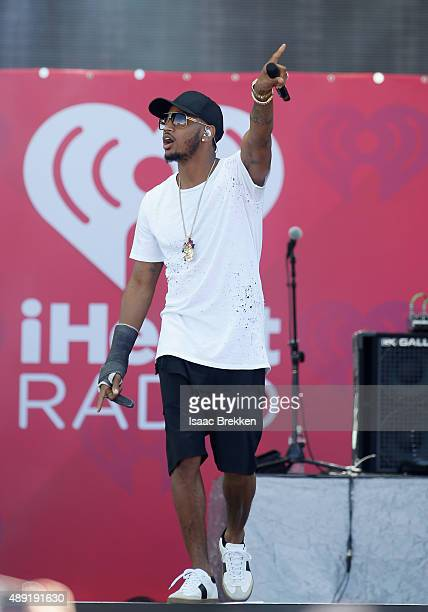 Singer Trey Songz performs onstage at The Daytime Village during the 2015 iHeartRadio Music Festival at the Las Vegas Village on September 19 2015 in...