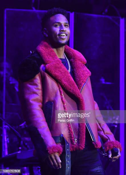 Singer Trey Songz performs onstage during 2018 V103 Winterfest at State Farm Arena on December 15 2018 in Atlanta Georgia
